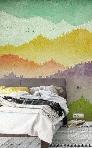 3D Hand-painted, Colored mountain Wallpaper
