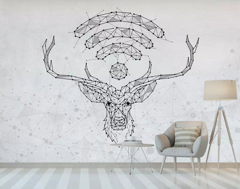 3D Hand-painted, Abstract graphic, Elk Wallpaper