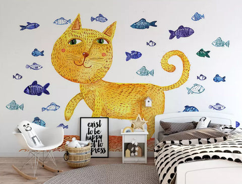3D Kids, Cartoon, Cat, Fish Wallpaper-Nursery