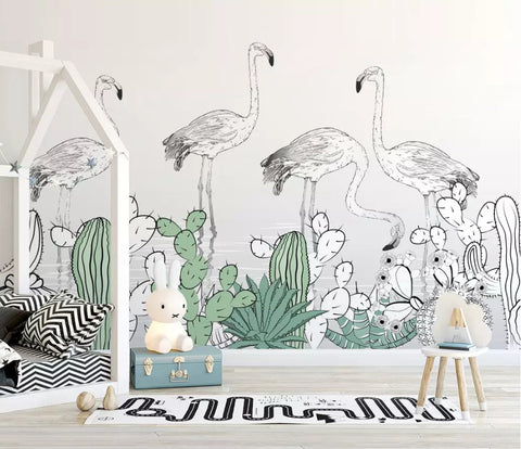 3D Kids, Tropical, Flamingo, Plant Wallpaper-Nursery