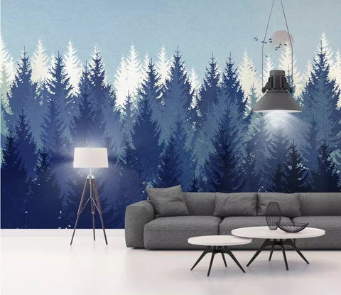 3D Blue, Modern, Simple, Pine forest, Bird Wallpaper