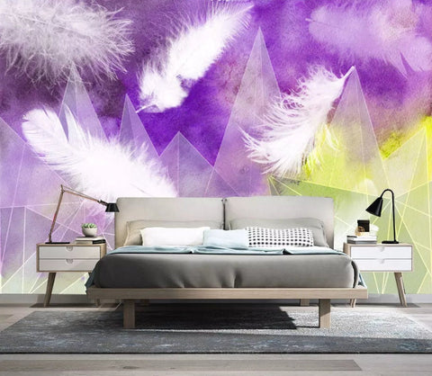 3D Purple watercolor background, Feather Wallpaper