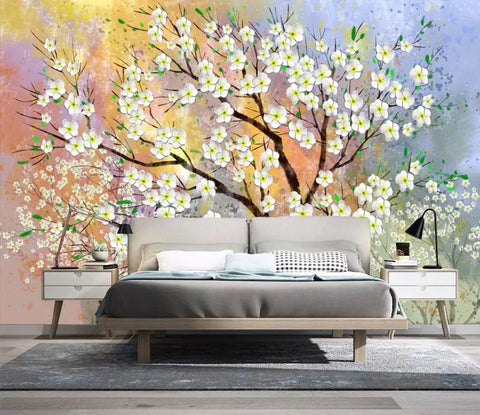 3D Watercolor background, Colorful, Flowering tree Wallpaper