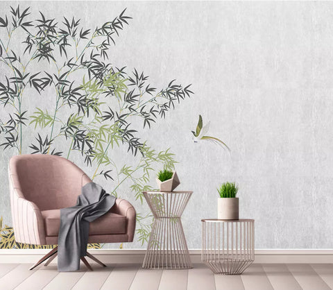 3D Chinese, Vintage, Bamboo Wallpaper