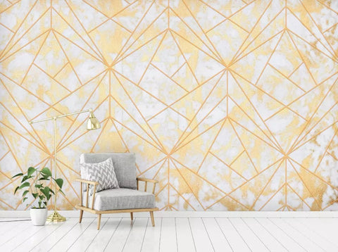 3D Simple, Jazz, Gold line, Marbling Wallpaper