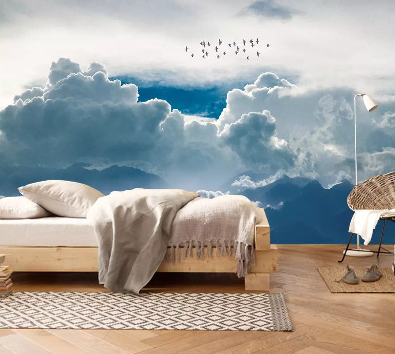 3d Blue Dreamy Cloud Wallpaper Removable Self Adhesive Wallpaper Wall Jessartdecoration