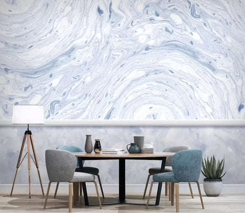 3D Vintage, Blue-tones, Marble Wallpaper