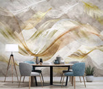 3D Soft feathers, Golden lines Wallpaper