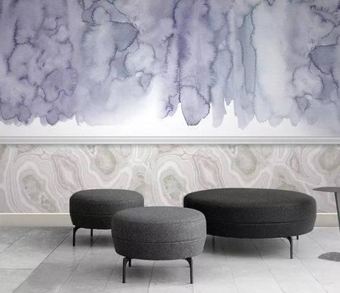 3D Chinese style, Blue-tones, Watercolor smudge Wallpaper