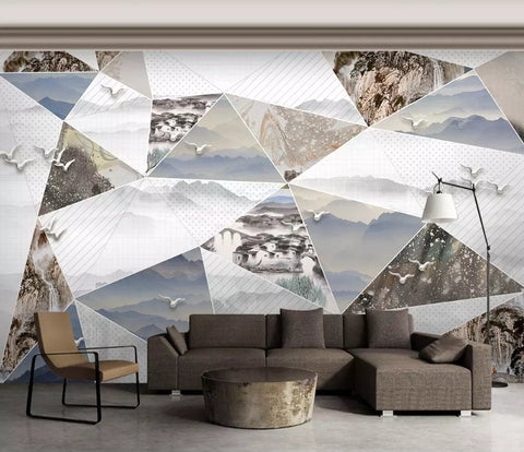 3D Chinese style,Abstract landscape,Geometric decoration Wallpaper