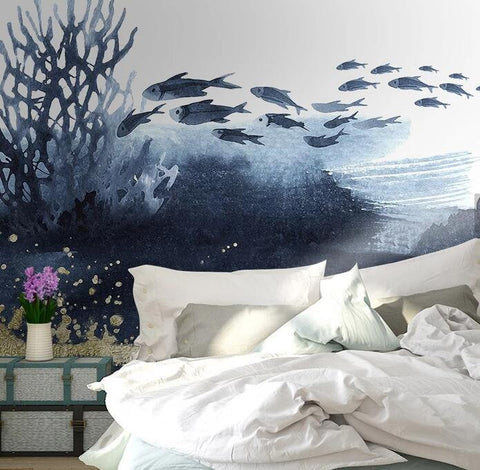 3D Cold-tones, Watercolor, Forest, Fish Wallpaper