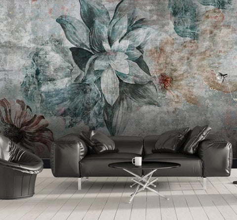 3D Old walls, Vintage, Flower Wallpaper