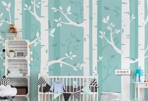 3D Cartoon, Birch forest, Tree trunk Wallpaper