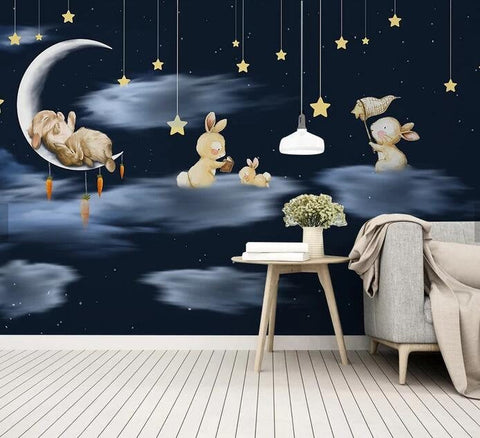 3D Kids, Cartoon,Dreamy night,Rabbit Wallpaper-Nursery