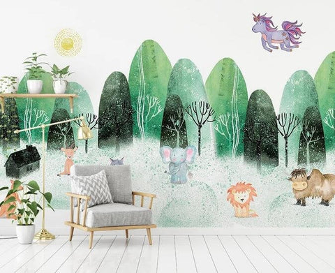 3D Kids, Watercolor, Forest, Animal Wallpaper-Nursery