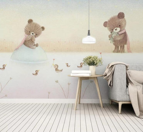 3D Kids, Cartoon, The bear family Wallpaper-Nursery