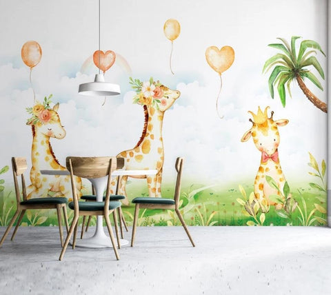 3D Kids, Watercolor, Jungle giraffe Wallpaper-Nursery