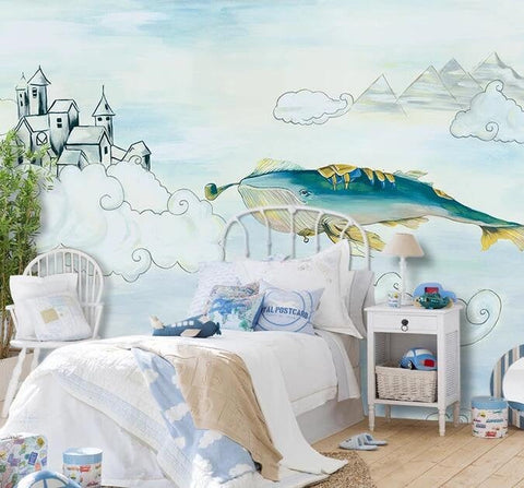 3D Kids, Cartoon, Whale, Castle Wallpaper-Nursery