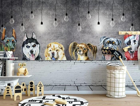 3D Kids, Cartoon, Dogs Wallpaper-Nursery