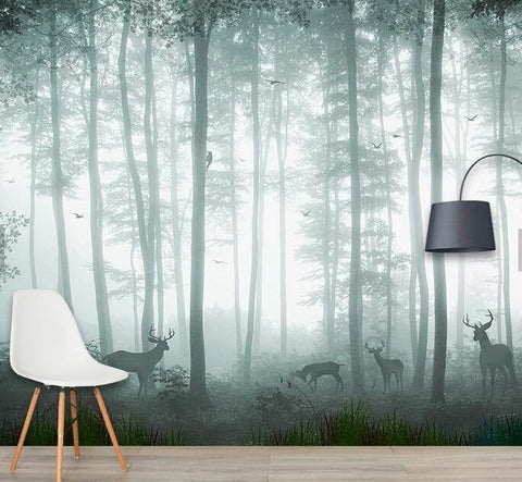 3D Fog, Forest, Elk Wallpaper