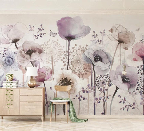 3D Hand-painted, Watercolor, Lavender flower Wallpaper