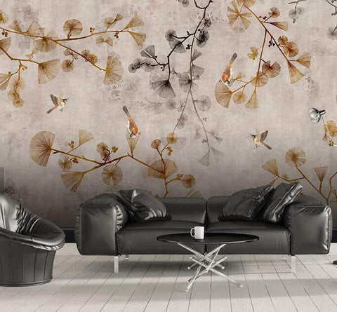 3D Chinese style, Hand-painted, Ginkgo leaf Wallpaper