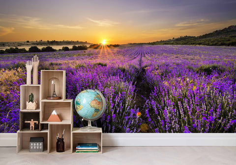 3D Sunset view, Lavender Wallpaper