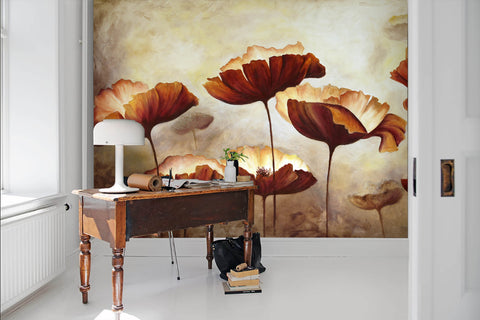 3D Vintage, Brown-tones, flower Wallpaper