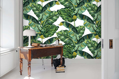 3D Tropical style, Banana leaf Wallpaper