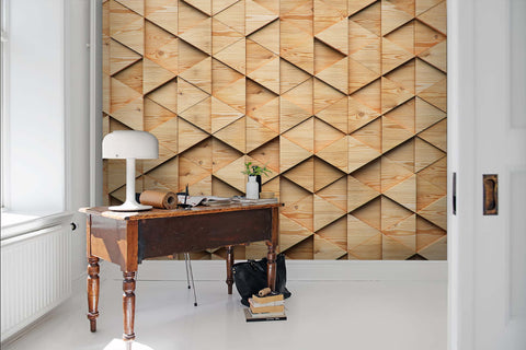 3D Uneven, Mosaic, Wood grain Wallpaper