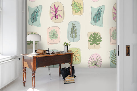 3D Hand-painted, Cartoon leaf Wallpaper