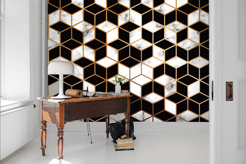 3D Black and white, Mosaic, Marble, Gold line Wallpaper
