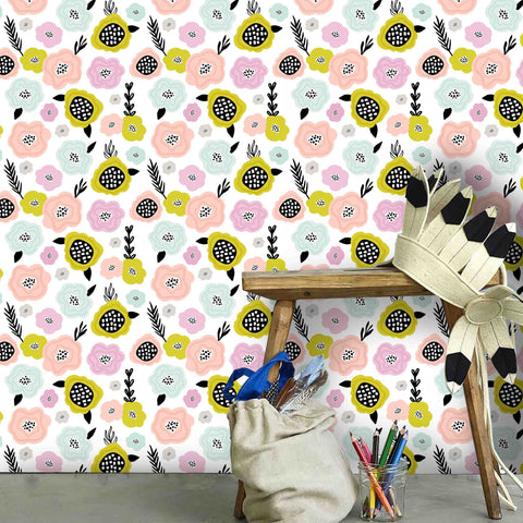 3D Kids, Cartoon, Flower Wallpaper-Nursery