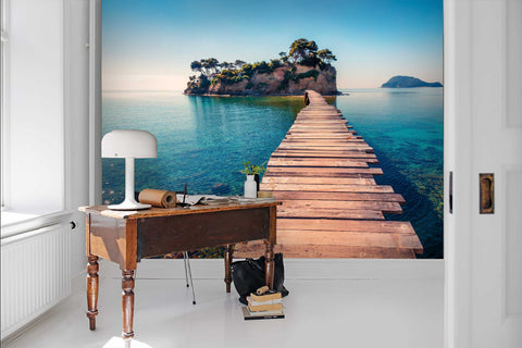 3D Ocean, Wooden plank road, Natural scenery Wallpaper