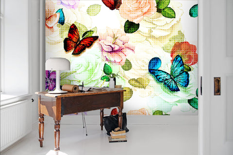 3D Watercolor, Butterfly, flower Wallpaper