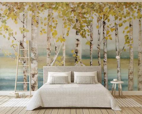 3D Watercolor, Serenity, Lakes, Birch forests Wallpaper