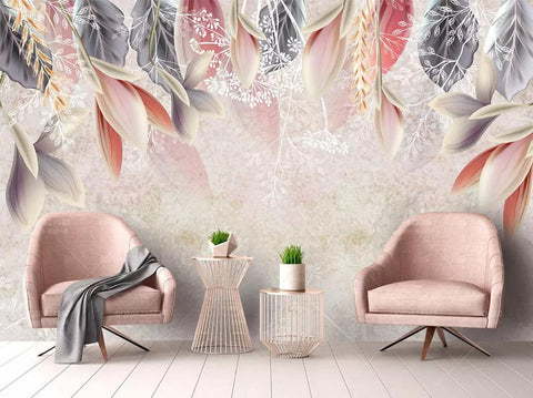 3D Hand-painted, Pink, Flower and leaf Wallpaper