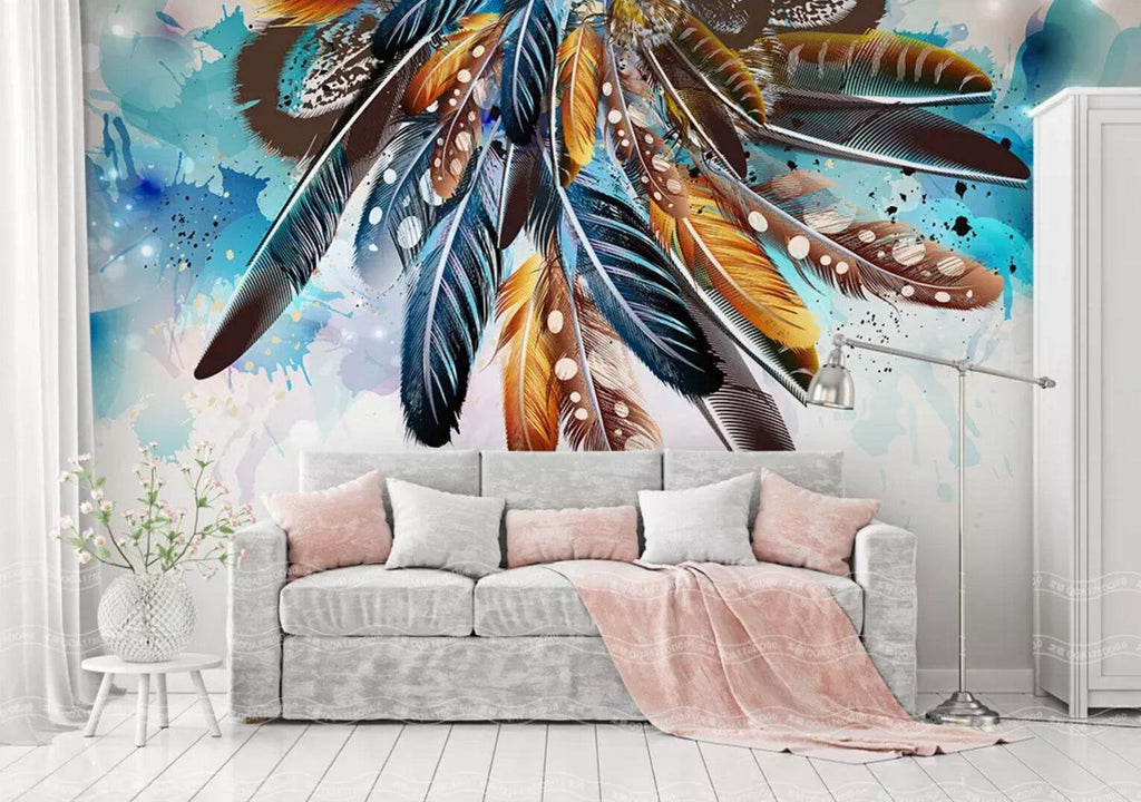 3D Watercolor background,Indian style,Colorful feather Wallpaper,Removable Self Adhesive Wallpaper,Wall Mural,Vintage art,Peel and Stick