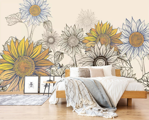 3D Floral, Cartoon, Sunflower