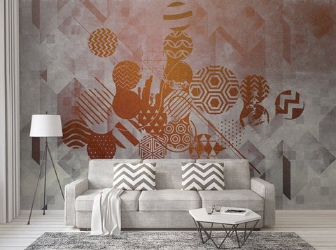 3D Warm colors, Abstract graphics Wallpaper, Removable Self Adhesive Wallpaper,Wall Mural,Vintage art,Peel and Stick