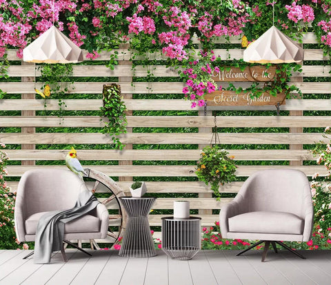 3D Outside, Wooden fences, Pink flowers Wallpaper