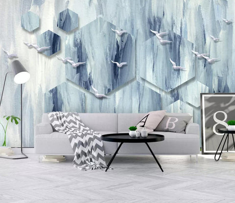 3D Sea waves, Geometric shape, Deer head Wallpaper