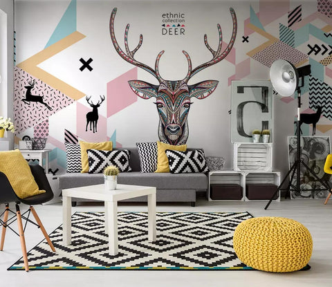 3D Hand-painted, Abstract geometry, Deer head Wallpaper