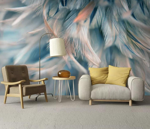 3D Blue, Soft, Feather Wallpaper