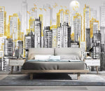 3D Black and white, Gold decoration, Urban architecture Wallpaper