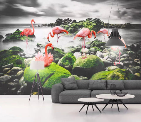 3D Black and white landscape background, Flamingo Wallpaper