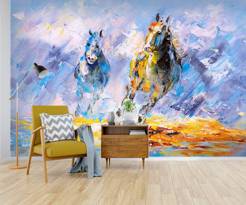 3D Abstract, Hand-painted, Galloping, Steed Wallpaper