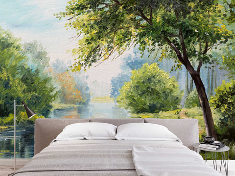 3D Summer scenery, Lake, Tree Wallpaper