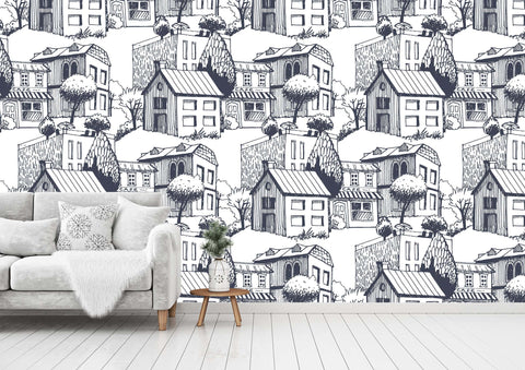 3D Hand-painted house, Small town Wallpaper