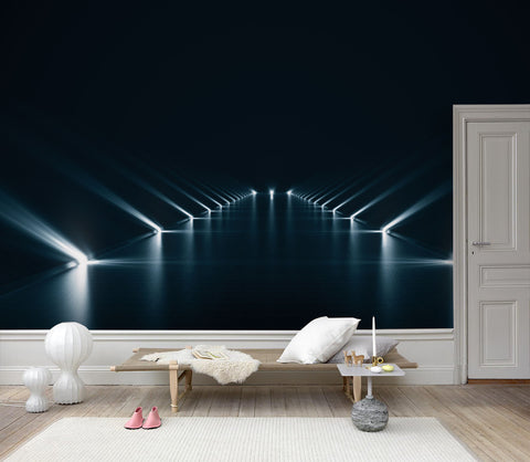 3D Dim space, Beams of light Wallpaper